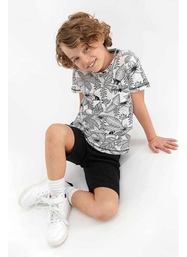 Arnetta Florak Pattern Krem Genç Erkek Bermuda Takım Krem
